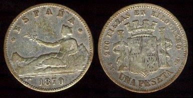 La peseta, introduida com unitat monetària a Espanya l'any 1868.