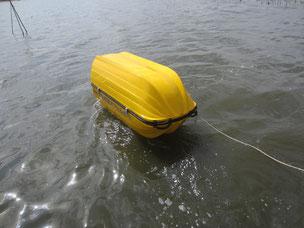 水に浮く防水カプセル倉庫