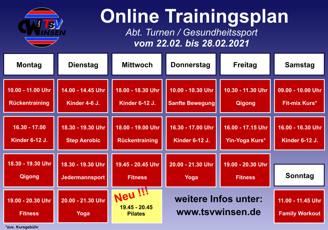 Trainingsplan vom 22.02.-28.02.