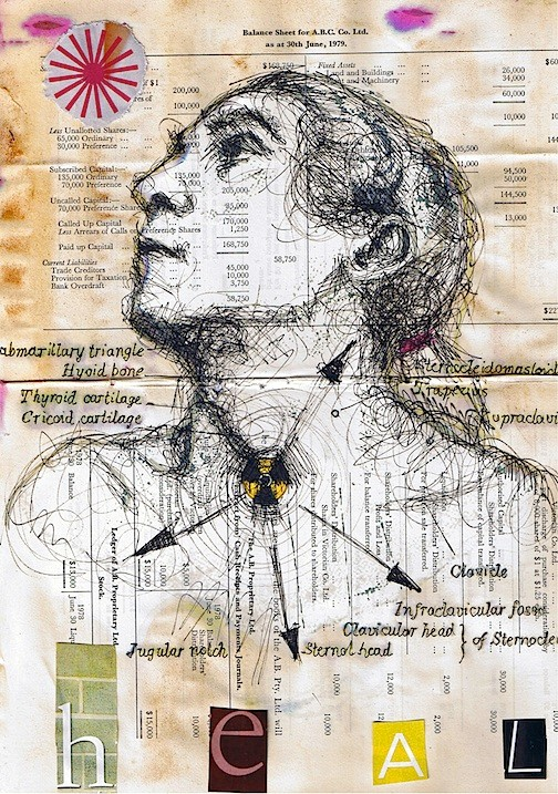 Heal - Mixed media and collage on old paper. 21x29cm.