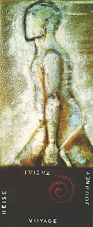 'Traveller' -  pigment and rust on hessian 30x60cm