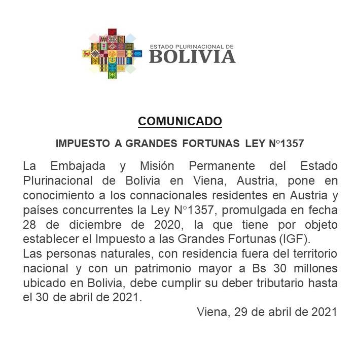LEY N° 1357 LEY DE 28 DE DICIEMBRE DE 2020 LUIS ALBERTO ARCE CATACORA PRESIDENTE CONSTITUCIONAL DEL ESTADO PLURINACIONAL DE BOLIVIA Por cuanto, la Asamblea Legislativa Plurinacional, ha sancionado la sigu