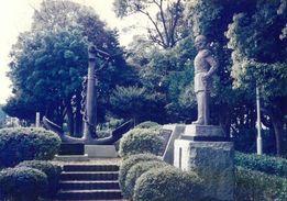 ディアナ号錨とプチャーチン提督像・富士市緑道公園