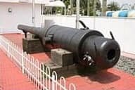 対馬沖から引き揚げられたロシアの大砲