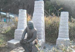 ベーリング像(網地島の白浜海水浴場)