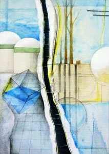 Layered Landscape -分水嶺Ⅱ- D515×W364㎜ ミクストメディア 2015年