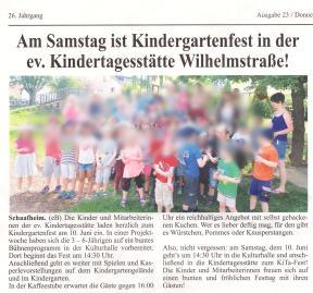 Papatag in der evgl. Kindertagesstätte Schaafheim