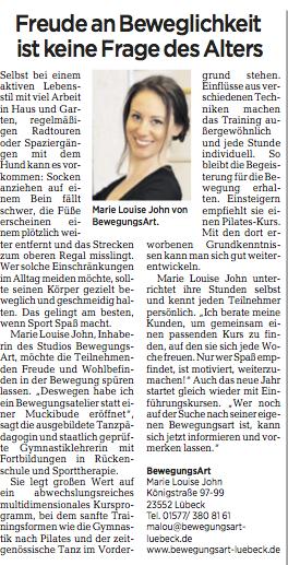 LN - Lübecker Nachrichten 2.11.2017 - BewegungsArt Marie Louise John