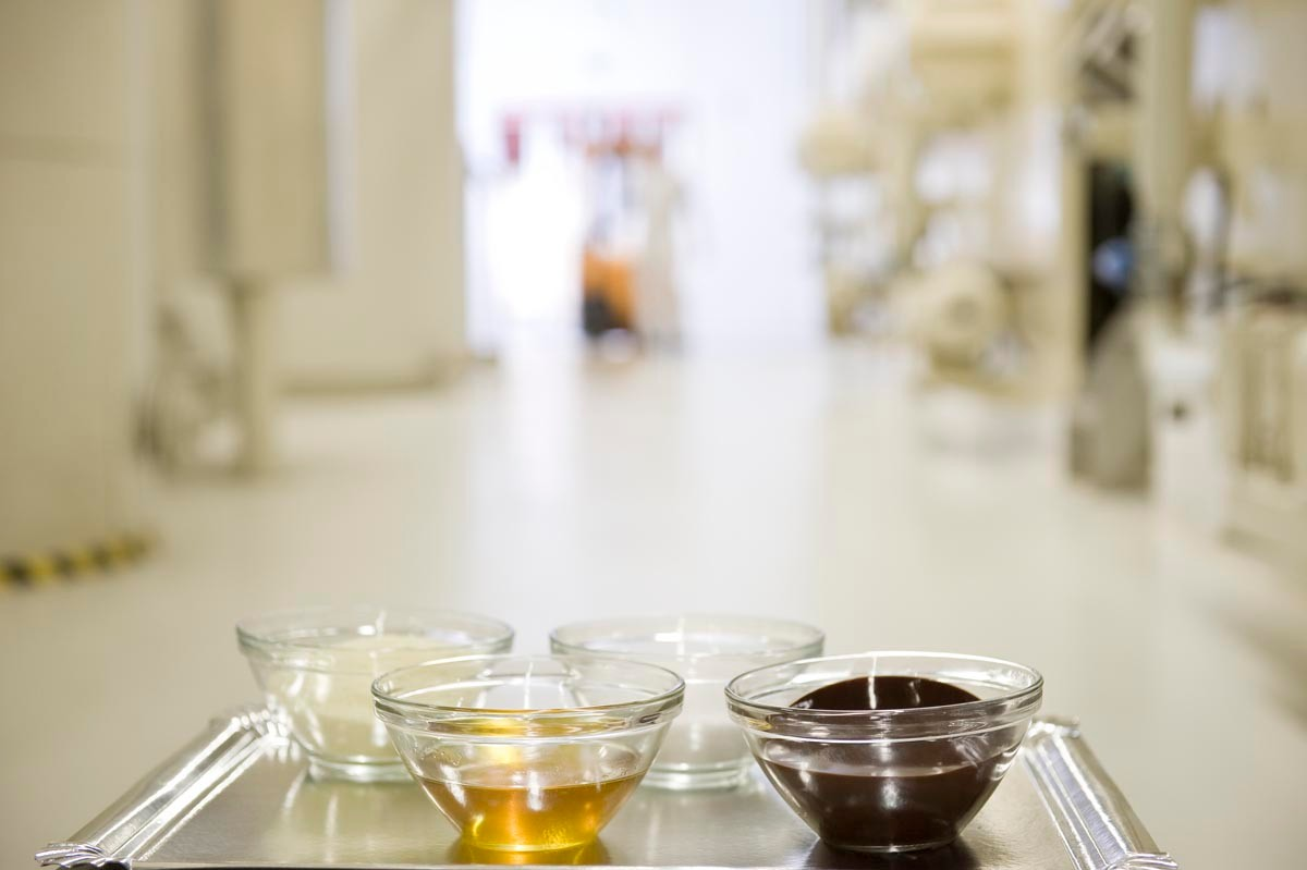 Milk chocolate consists of the basic ingredients cacao mass, cacao butter, sugar, and milk powder.