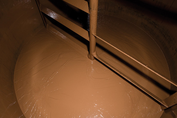 Until the chocolate gets poured, it is stored in huge tanks.