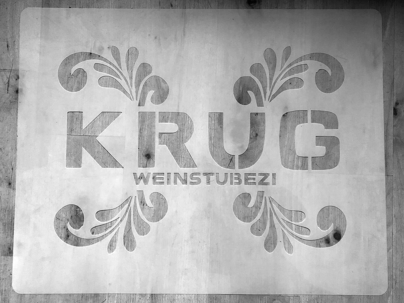 Schablone für das Restaurant KRUG in HH