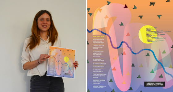 Die Gewinnerin der Ausschreibung zur künstlerischen Gestaltung des Student Welcome Package 2018, Frau Susanne Haase, präsentiert ihren Entwurf.