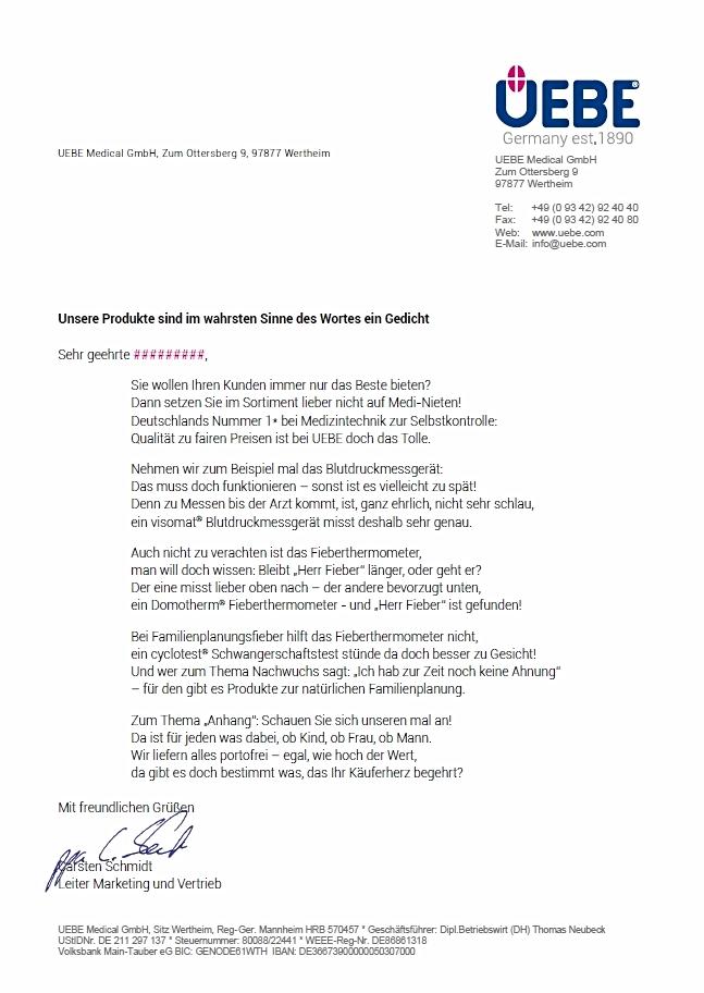 Werbebrief für UEBE_Medical