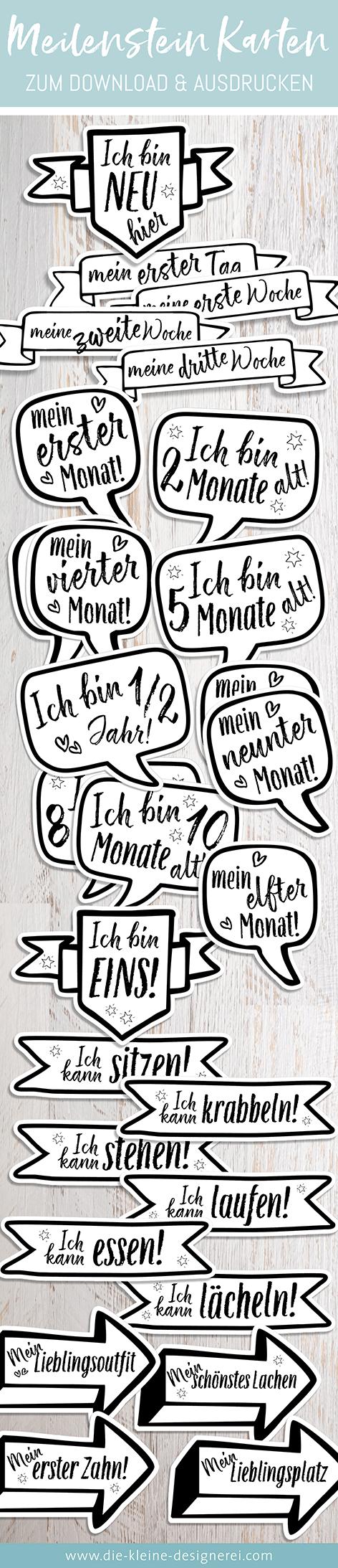 30 unterschiedliche Meilensteinkarten in Banner-, Pfeil- und Sprechblasenform für Baby's erstes Jahr, einfach herunterladen und ausdrucken. www.die-kleine-designerei.com