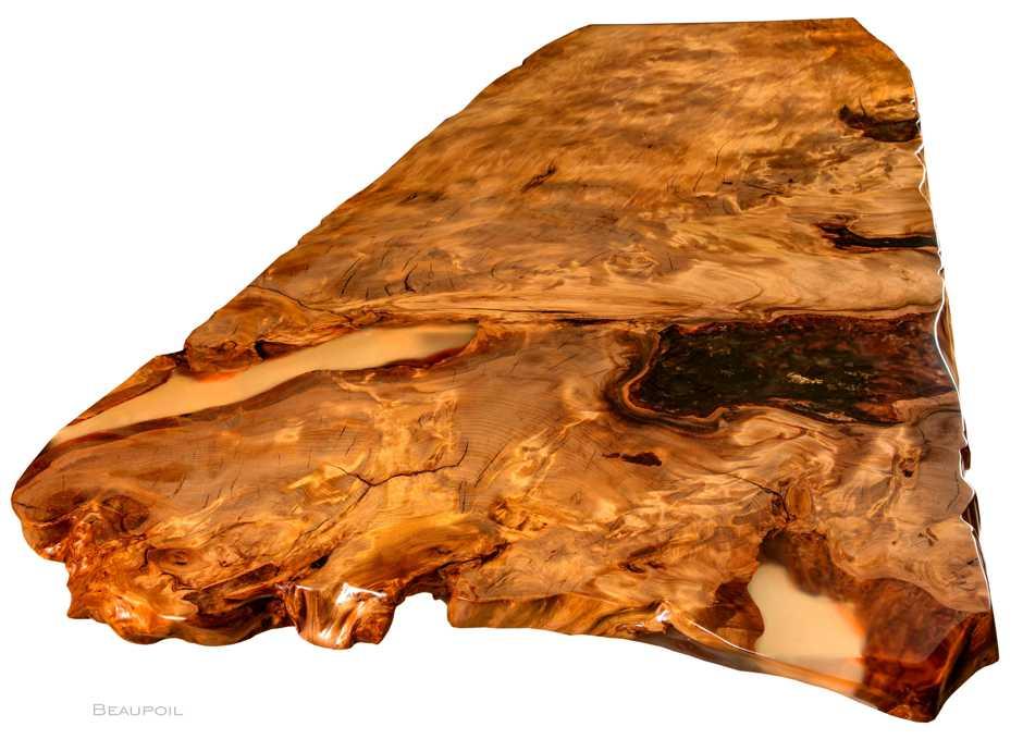 Besonderer Kauri Esstisch für edles Wohnambiente, Tischplatte Wurzel Stammholz, Einzelstück in Handarbeit, ein Stück Wurzelholz mit Naturkanten, Esstisch nach Maß