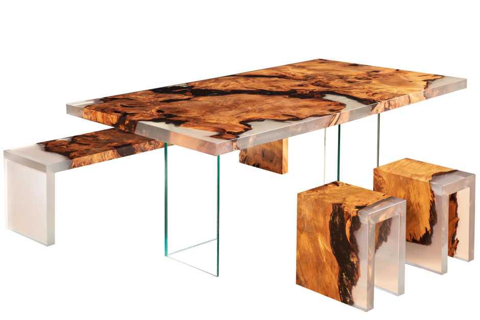 Exklusiver Kauri Holztisch modernes Möbeldesign, Unikat Designmöbel, Einzelanfertigung Wurzel Designertisch, Glasfüße, zeitloses Naturdesign, exklusive Einzelanfertigung