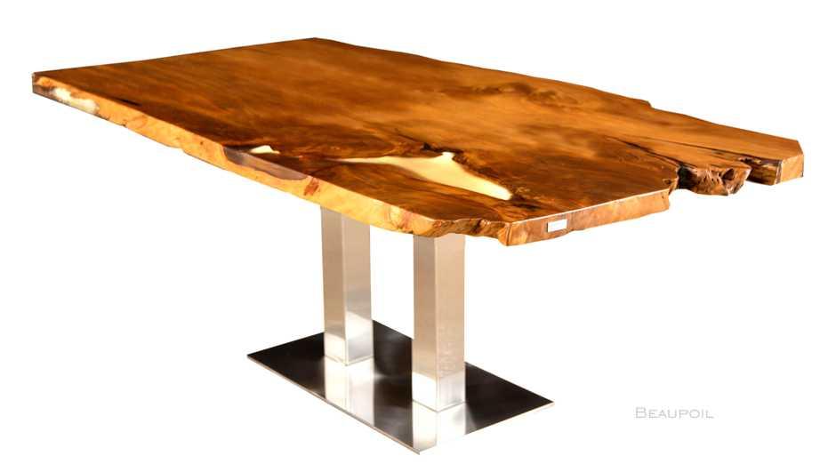 Kauri Holztisch mit Durchleuchtung der markanten Harzfüllung, einzigartiges Kunstwerk der Natur mit Wurzelanteil, unverleimte Esstisch Naturholz Tischplatte