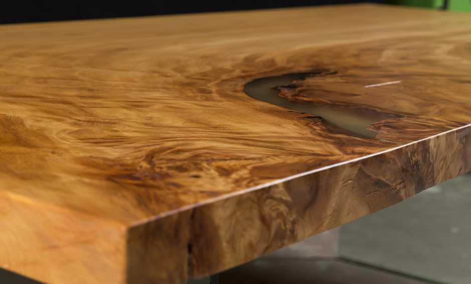 Exclusive desk top from ancient Kauri wood, luxury Kauri wood and dining table with fascinating wood grain, exclusiv luxury designer wood dining table