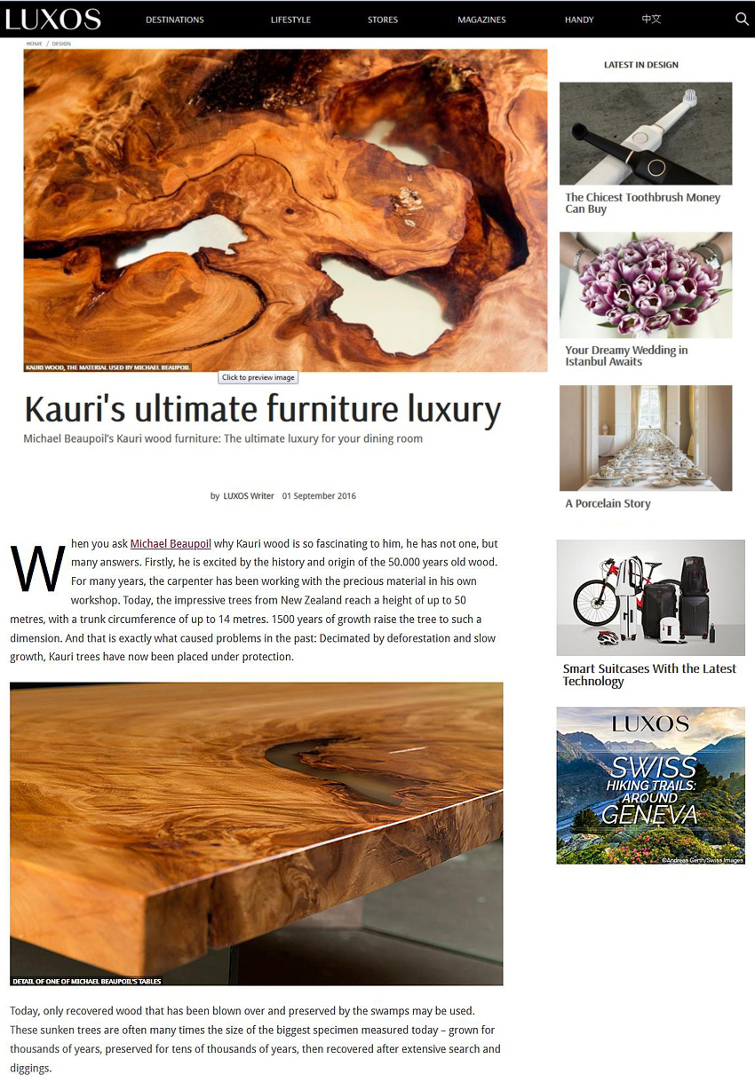 Pressebericht Magazin Luxos Kauri Luxusmöbel, Michael Beaupoil, luxury furniture wood table, dining table