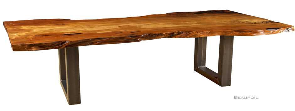 Exklusiver hochwertiger Holztisch und Esstisch aus massivem altem versumpftem Kauri Holz, extravagantes Einzelstück und Unikat mit Metallfußgestell zeitlos modern, exklusiver Holz Esstisch