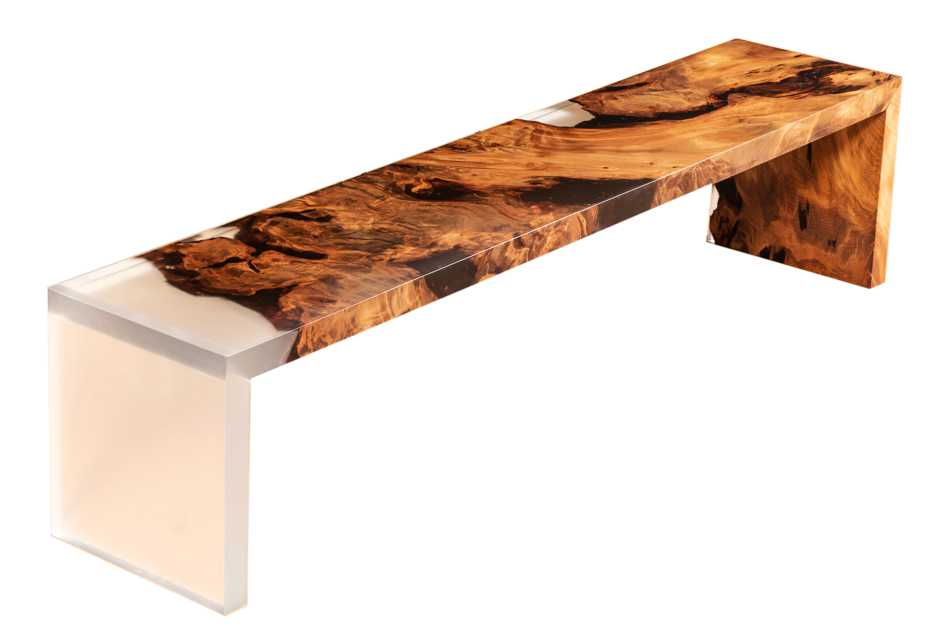 Exklusive Designmöbel, individuelle Kauri Holzbank, kreatives Möbeldesign, Holztisch und Designertische, Wurzel Natur Design, Luxusmöbel, exklusive Möbel