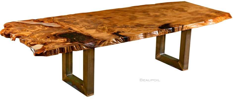 Großer Kauri Esstisch mit Wurzel Stamm, Esstisch mit original Baumstammplatte ein Stück Naturwuchs, schöner Holztisch, kunstvoller Konferenztisch