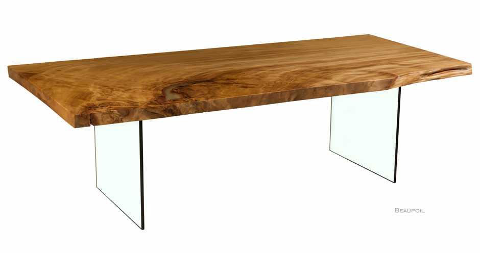Exklusiver Design Tisch aus der Wurzel vom Kauri Baum, außergewöhnlicher Holztisch mit Glasfüßen, besonderer Designertisch mit Glasfüßen