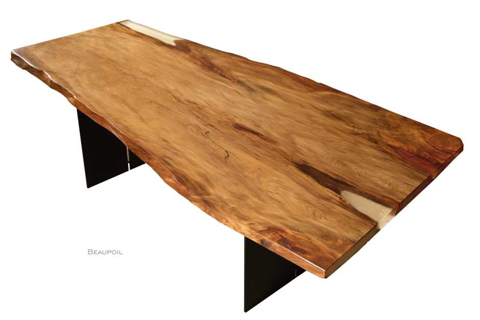 Exclusive unique natural Ancient Kauri wood table from aesthetic tree trunk