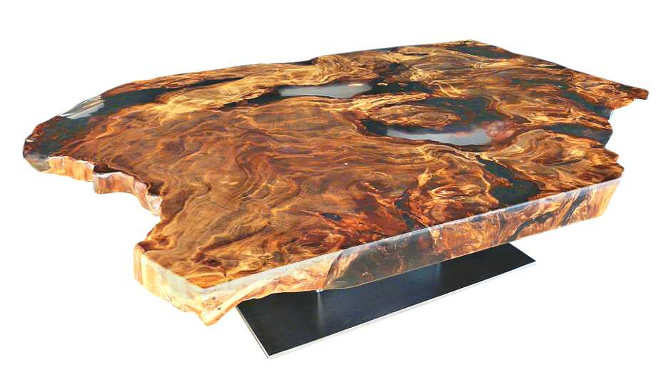 Designer Couchtisch, exklusiver Holztisch aus Kauri Wurzelholz mit Epoxidharz, unvergleichliches Unikat mit besonderer Tischplatte, Eyecatcher Designer Holz Couchtisch