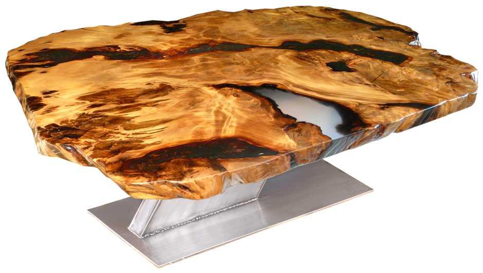 Design Esstisch, besonderer Designer Holztisch aus Kauri Naturwurzel, außergewöhnliches modernes Unikat, große unverleimte Wurzel Tischplatte, Rarität, Edelstahl Fußgestell