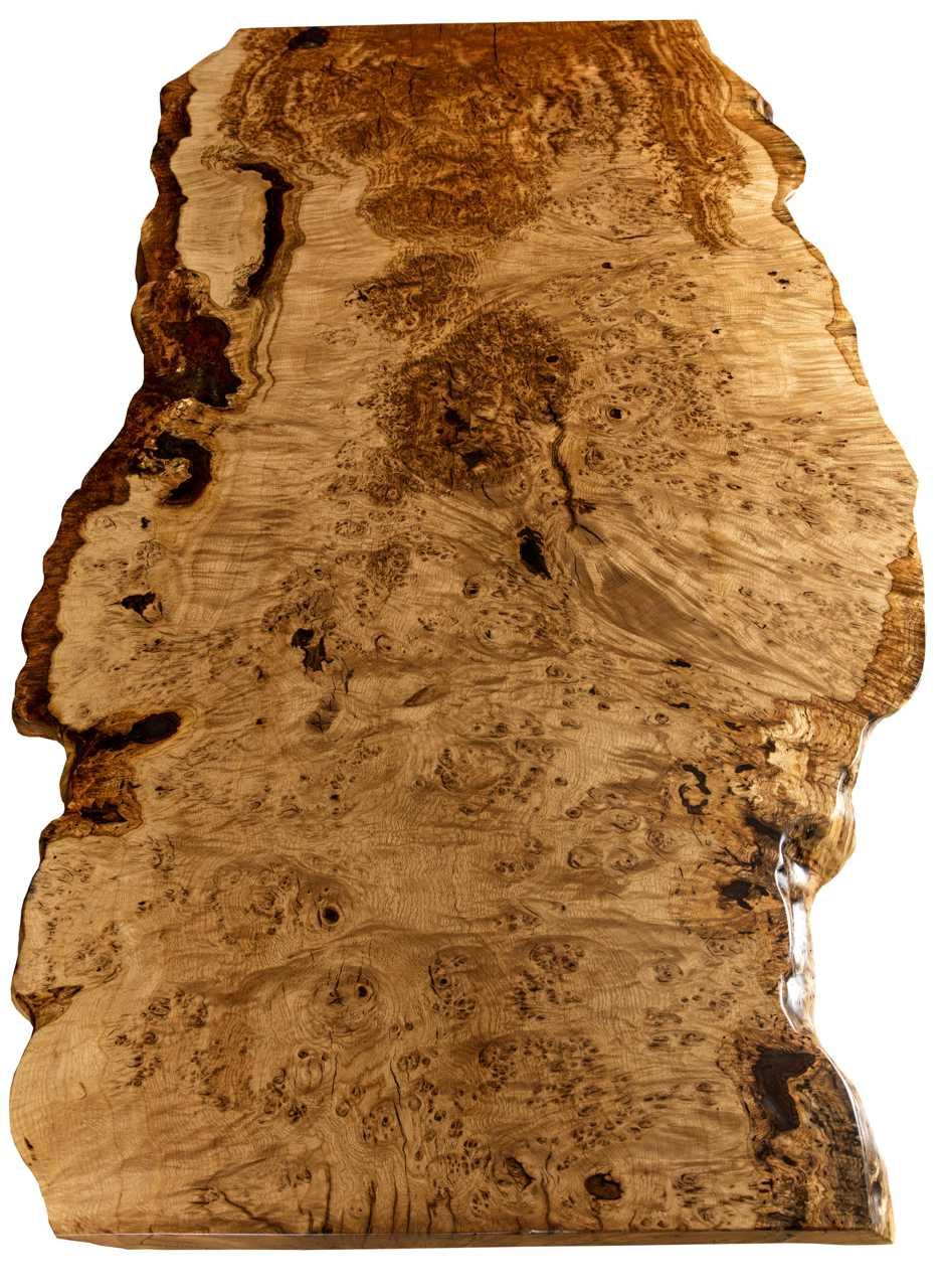 Esstisch als rustikales Kunstmöbel mit Naturholz Tischplatte ein Stück, einmaliger Eiche Baumstammtisch mit kunstvollem Wuchs, herausragendes Prachtwerk der Natur