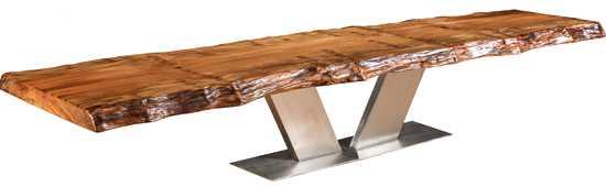 Designer Konferenztisch mit modernem Edelstahl Fussgestell, exklusiver Baumstammtisch aus grossem massivem Kauri Holz, Holztisch als Konferenztisch