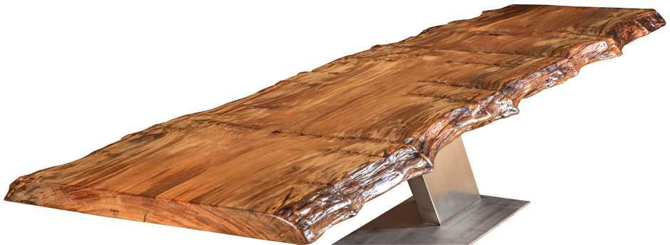 Designer Konferenztisch modern aus massiver Kauri Baumstamm Tischplatte, außergewöhnlicher Konferenztisch mit besonderem Naturcharakter, Designertisch, großer Holztisch