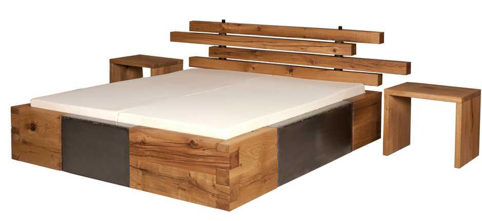Massivholzbett aus massiver Eiche, außergewöhnliches Designerbett mit herausragender Ausstrahlung, robustes Holzbett, exklusive besondere Betten