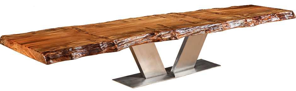 Konferenztisch mit exklusivem Design, grosser Baumstammtisch mit massiver besonderer Kauri Tischplatte, moderner Designer Konferenztisch, wertvoller Holztisch mit außergewöhnlichem Edelstahl Fussgestell