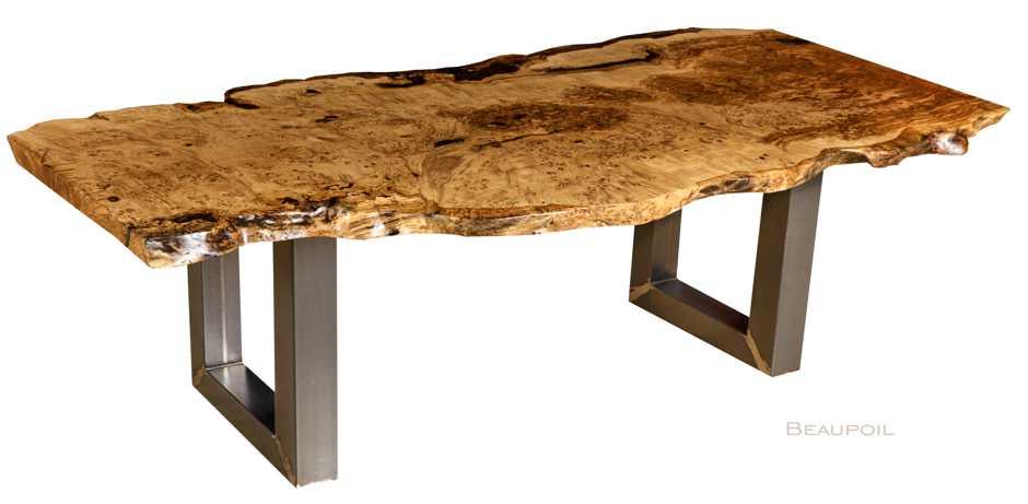 Tischunikat Eiche Esstisch, hochwertiger Holztisch mit kunstvoller Naturholz Tischplatte, rustikaler Baumstammtisch, Kunstmöbel mit herausragender Qualität