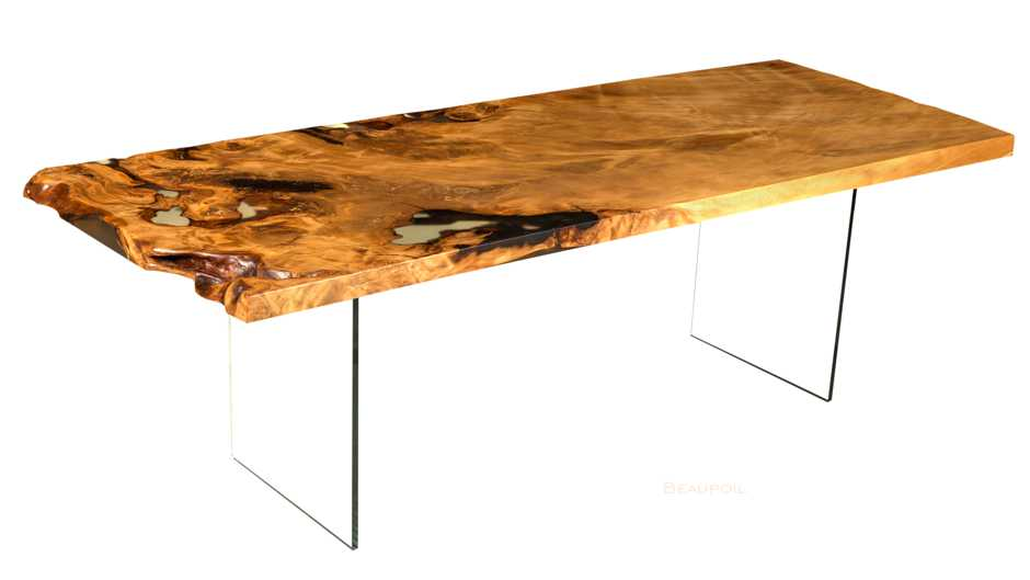 Limited and long-lived Kauri tree trunk wood table, bespoke fascinating table and modern furniture, modern wood table with glass, exclusiv dining table