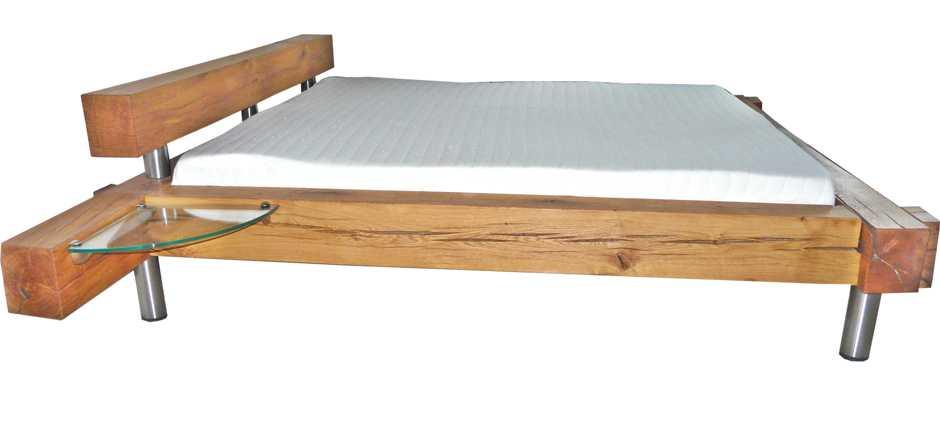 Holzbett modern aus massiven Eiche Balken, unvergleichliches Balkenbett aus Massivholz, Einzelanfertigung Massivholzbett