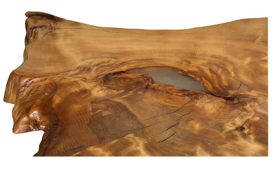 Exklusive Esstischplatte, einzigartiges an einem Stück gewachsenes Naturkunstwerk, natürlicher Esstisch mit faszinierender Maserung, schöner Designer Holztisch