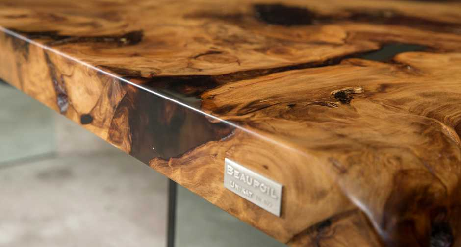 Unique designer tables and luxurious Kauri wood tables with high value, hand crafted modern dining tables as a work of art of nature