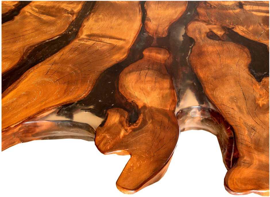 Großer Holztisch mit kunstvollem Naturwuchs, riesige Kauri Tischplatte an einem Stück, Luxus Konferenztisch, extravaganter Baumtisch, exklusiver Naturholztisch