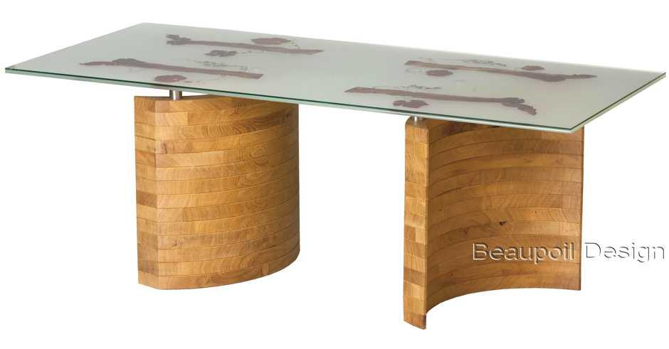 Designertisch und Designermöbel, einzigartig und exklusiv, echtes Möbelunikat mit Eiche individuell designt, persönliches Naturkunstwerk mit filigranem Rebholz