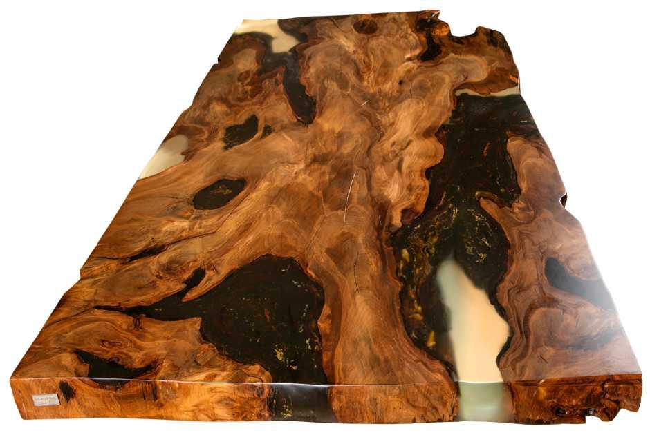 Kauri Möbel Holztisch, Unikate Esstisch, wertvolle Sachwertanlagen, exklusive Wertanlage, wertige Unikate, hochwertige Tischplatte Wurzelholztisch, Geldanlage kostbares Einzelstück Esstisch Konferenztisch