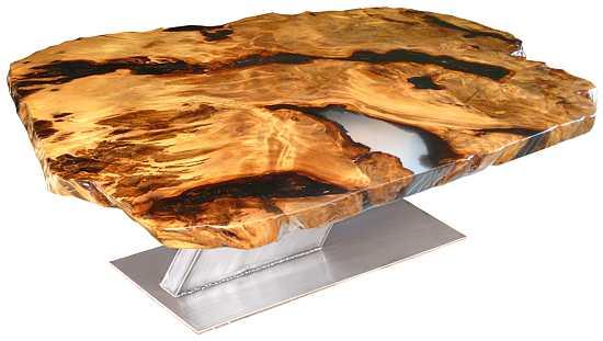 Designtisch mit einzigartiger Kauri Natur Wurzel Tischplatte, einmaliger Esstisch als besondere Rarität, exklusiver unnachahmlicher Holztisch