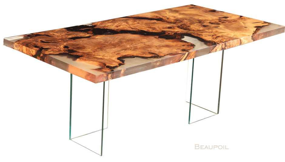 Exklusiver Designer Wurzel Holztisch, besonderer Kauri Designertisch, modernes Unikat, Geldanlage, urwüchsige Tischplatte, Geldanlage unverwechselbares Möbeldesign