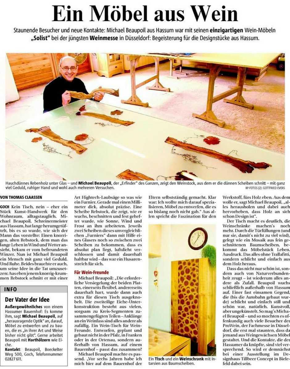 Presse RP Weinmöbel, einzigartige Möbel aus Rebhölzer, Kunsthandwerk von Michael Beaupoil, besondere Möbelstücke und Holztische, Tische aus Glas mit Weinrebe