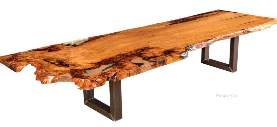 Grosser Kauri Konferenztisch als wertvollen Holztisch, exklusive Tischplatte mit Wurzel und Stammanteil, moderner Konferenztisch, wertvolle Geldanlage, Tisch Wurzel Stamm