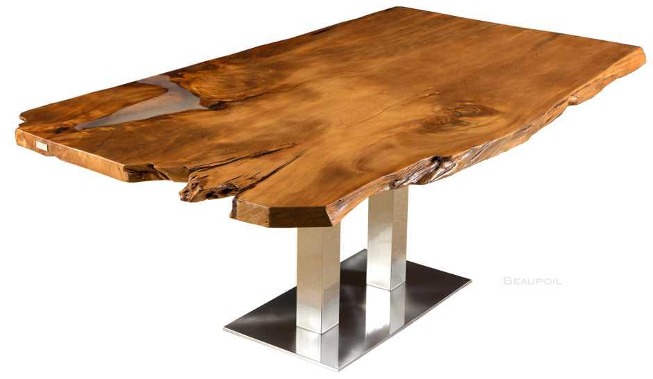 Einzigartiger Kauri Holztisch, archaischer Charaktertisch mit organischen Naturkanten und Edelstahl Fußgestell, Esstisch mit Wurzel Stamm