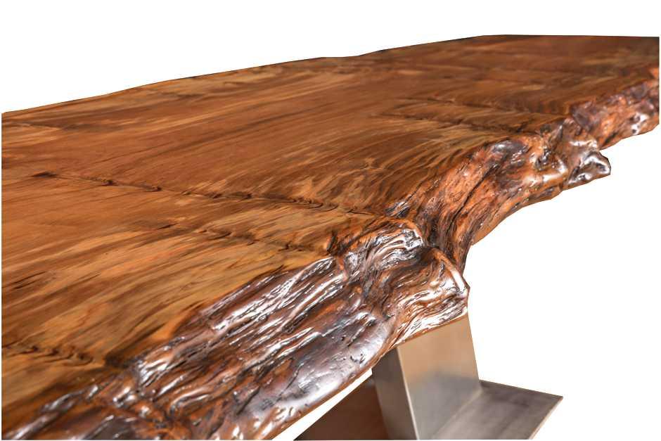 Exklusiver Designer Konferenztisch, ausgefallener Holztisch aus außergewöhnlichem Kauri Massivholz, moderner Tisch ein Stück, Konferenztisch aus Baumstamm mit urwüchsigen Naturkanten