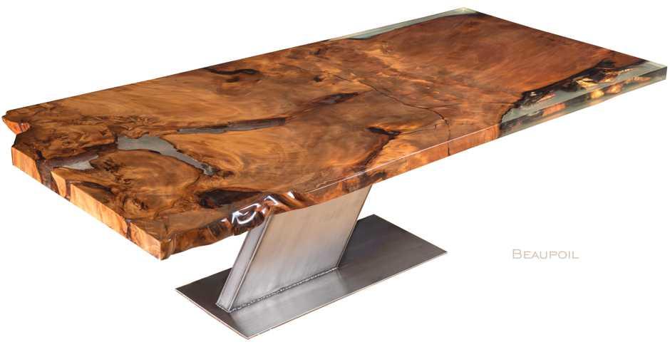 Designer Esstisch Luxus Holztisch aus kostbarem Kauri Wurzelholz, besonderer Wurzelholztisch mit Gold, exklusiver Unikat Holztisch, luxuriöse große Tischplatte ein Stück, echtes Einzelstück